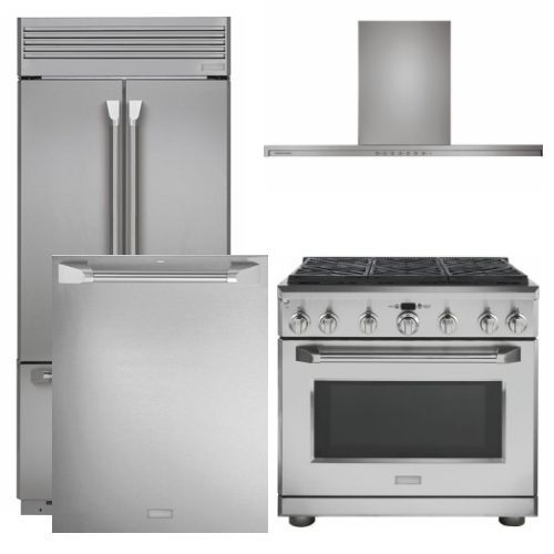 "Package MOG36 - Monogram Appliance Package - 4 Piece Appliance Package with 36"" Gas Range - Stainless Steel"