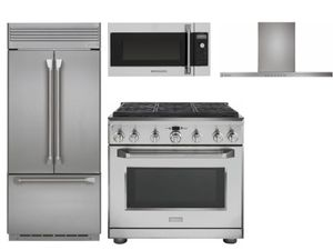 """Package MOG36 - Monogram Appliance Package - 4 Piece Appliance Package with 36"""" Gas Range - Stainless Steel"""