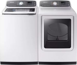 Package SSW7750WE - Samsung Washer and Dryer Package - Top Load Washer and Electric Dryer - White