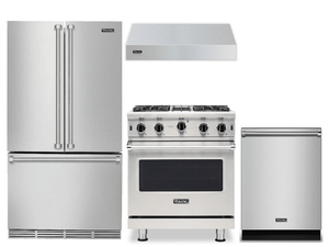 Package V6 - Viking Appliance Package - 4 Piece Luxury Appliance Package with Gas Range + Free Dishwasher - Stainless Steel