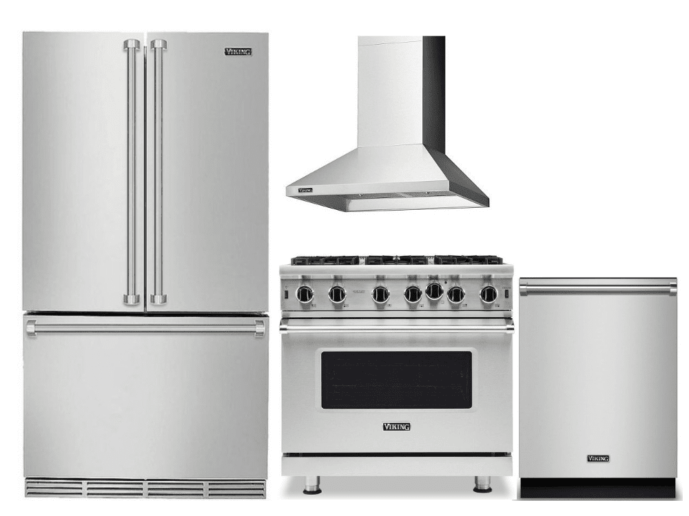 Package V7 Viking Appliance Package 4 Piece Luxury Appliance Package With Gas Range Free Dishwasher Stainless Steel