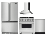 Package V7 - Viking Appliance Package - 4 Piece Luxury Appliance Package with Gas Range + Free Dishwasher  - Stainless Steel