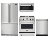 Package V8 - Viking Appliance Package - 4 Piece Luxury Appliance Package with Gas Range + Free Dishwasher - Stainless Steel