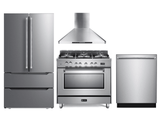 Package VER36DF -Verona Appliance 4 Piece Appliance Package with Gas Range - Stainless Steel