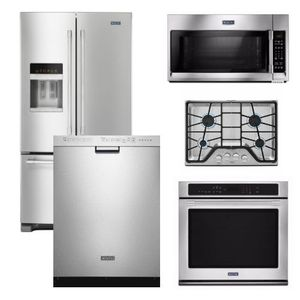 Package 33 - Maytag Appliance Built-In Package - 5 Piece Appliance Package including Gas Cooktop - Stainless Steel