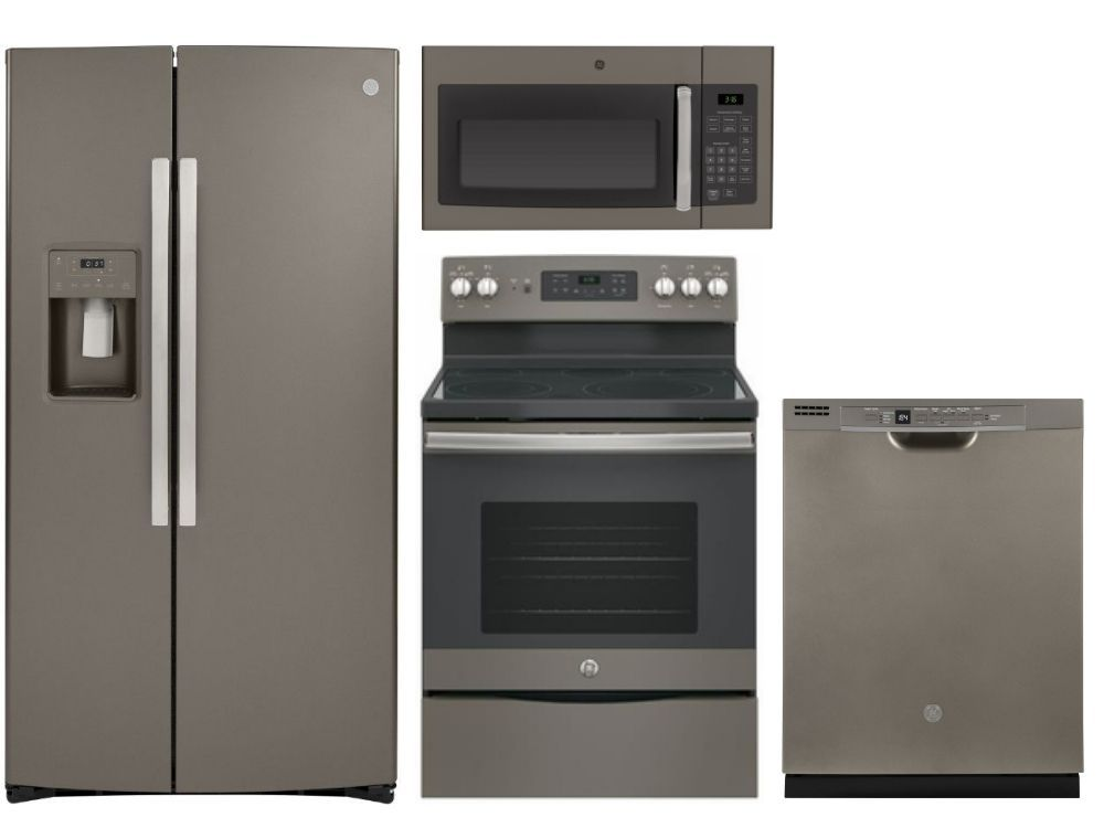 Package 36   GE Appliance   4 Piece Appliance Package With Electric Range    Includes Free Microwave   Slate Code: 60500 16121 18325 14534 17954 ...