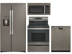 Package 36 - GE Appliance - 4 Piece Appliance Package with Electric Range - Includes Free Microwave - Slate