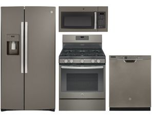 Package 37 - GE Appliance - 4 Piece Appliance Package with Gas Range - Includes Free Microwave - Slate