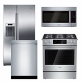 Package B6 - Bosch Appliance Package - 4 Piece Appliance Package with Gas Range - Stainless Steel