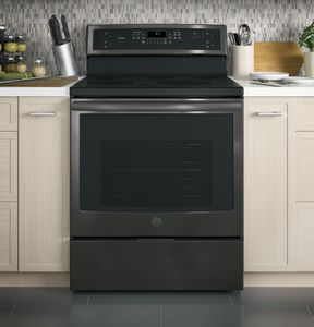 """PB911BJTS GE Profile Series 30"""" Free-Standing Electric Convection Range with Edge-to-edge Cooktop - Black Stainless Steel"""