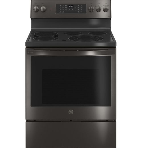 """PB935BPTS GE 30"""" Profile Freestanding Electric Convection Range with AirFry and Built In WiFi - Fingerprint Resistant Black Stainless Steel"""