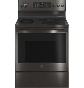 "PB935BPTS GE 30"" Profile Freestanding Electric Convection Range with AirFry and Built In WiFi - Fingerprint Resistant Black Stainless Steel"
