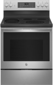 """PB935YPFS GE 30"""" Profile Freestanding Electric Convection Range with AirFry and Built In WiFi - Fingerprint Resistant Stainless Steel"""