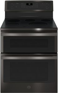 """PB960BJTS GE Profile 30"""" 6.6 Cu. Ft. Freestanding Double Oven Electric Convection Range with Ceramic Cooktop Surface and Steam-Clean Oven - Black Stainless Steel"""