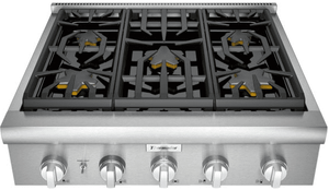 "PCG305W Thermador 30"" Professional 5 Burner Rangetop with LED Downlighting and Metal Knobs - Stainless Steel"