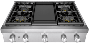 """PCG364WD Thermador 36"""" Professional Rangetop with 4 Burners and Griddle - Stainless Steel"""