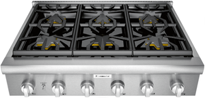 "PCG366W Thermador 36"" Professional 6 Burner Rangetop with Precision Simmering and QuickClean Base - Stainless Steel"