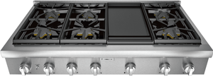 """PCG486WD Thermador 48"""" Professional Rangetop with 6 Burners and Griddle - Stainless Steel"""