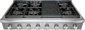 "PCG486WL Thermador 48"" Professional Rangetop with 6 Burners and Grill - Stainless Steel"