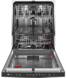 """PDP715SBNTS GE Profile 24"""" Stainless Steel Interior Hidden Control Dishwasher with DryBoost and Piranha Food Disposer - Black Stainless Steel"""
