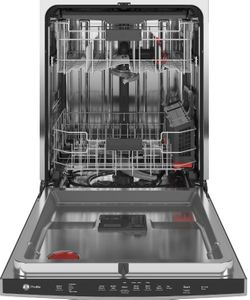 """PDP715SYNFS GE 24"""" Profile Stainless Steel Interior Hidden Control Dishwasher with DryBoost and Piranha Food Disposer - Fingerprint Resistant Stainless Steel"""