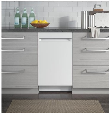 """PDT145SGLWW GE 18"""" Profile Series Built In Dishwasher with Autosense Cycle and 3 Level Wash - White"""
