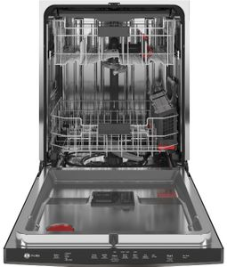 """PDT715SBNTS GE Profile 24"""" Stainless Steel Interior Hidden Control Dishwasher with DryBoost and Piranha Food Disposer - Black Stainless Steel"""