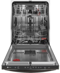 "PDT715SFNDS GE Profile 24"" Stainless Steel Interior Hidden Control Dishwasher with DryBoost and Piranha Food Dispenser - Black Slate"