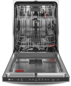 "PDT715SMNES GE Profile 24"" Stainless Steel Interior Hidden Control Dishwasher with DryBoost and Piranha Food Dispenser - Slate"