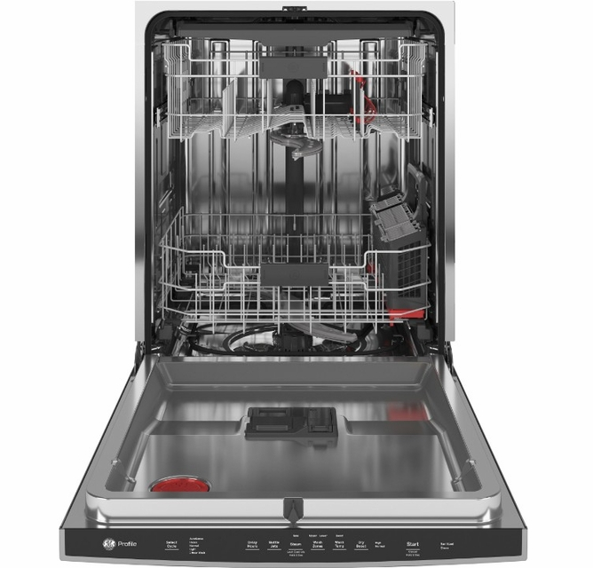 Pdt715synfs Ge Profile 24 Stainless Steel Interior Hidden Control Dishwasher With Dryboost And Piranha Food Disposer