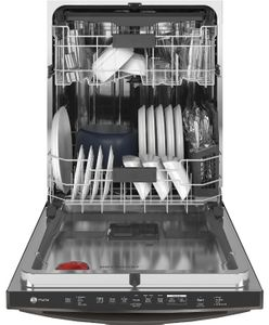 """PDT785BNTS GE Profile 24"""" Stainless Steel Interior Hidden Control Smart Dishwasher with Twin Turbo DryBoost and Wifi Connect - Black Stainless Steel"""