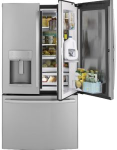 "PFD28KSLSS GE Profile 36"" 27.8 Cu. Ft. French Door Refrigerator with Twin Chill  and Hands-Free AutoFill - Stainless Steel"