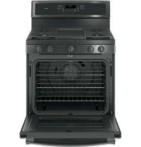 "PGB911BEJTS GE Profile Series 30"" Free-Standing Gas Convection Range with Edge-to-edge Cooktop - Black Stainless Steel"