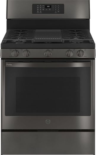 "PGB935BPTS GE 30"" Profile Freestanding Gas Convection Range with Air Fry and Built In WiFi - Black Stainless Steel"