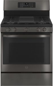 """PGB935BPTS GE 30"""" Profile Freestanding Gas Convection Range with Air Fry and Built In WiFi - Black Stainless Steel"""