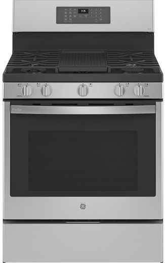 "PGB935YPFS GE 30"" Profile Freestanding Gas Convection Range with Air Fry and Built In Wifi - Fingerprint Resistant Stainless Steel"