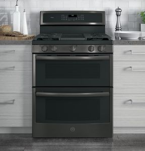 "PGB960BEJTS GE Profile Series 30"" Free-Standing Gas Double Oven Convection Range with Dual Purpose Center Burner ad Chef Connect - Black Stainless Steel"