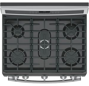 """PGB960SEJSS GE Profile Series 30"""" Free-Standing Gas Double Oven Convection Range with Dual Purpose Center Burner - Stainless Steel"""