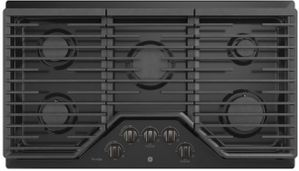 """PGP9036BMTS GE Profile Series 36"""" Built-In Gas Cooktop with Precise Simmer Burner and Sealed Cooktop Burners - Black Stainless Steel"""