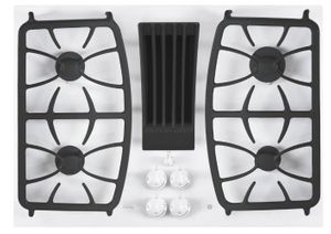 """PGP9830TJWW GE 30"""" Profile Series Built-In Gas Downdraft Cooktop with 4 Burners - White"""