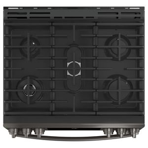 "PGS930BELTS GE 30"" Profile Series Slide-In Front Control Gas Range with True European Convection and Self-Clean - Black Stainless Steel"