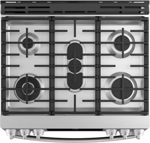 """PGS930SELSS GE 30"""" Profile Series Slide-In Front Control Gas Range with True European Convection and Self-Clean - Stainless Steel"""