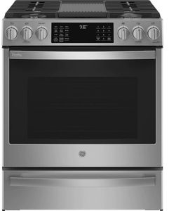 """PGS930YPFS GE Profile 30"""" Smart Slide-In Front Control Gas Range with No Preheat Air Fry - Fingerprint Resistant Stainless Steel"""