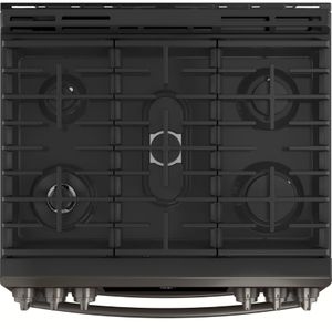 """PGS960BELTS GE 30"""" Profile Series Slide-In Front Control Double Oven Gas Range with True Convection and Self-Clean - Black Stainless Steel"""