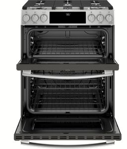 "PGS960SELSS GE 30"" Profile Series Slide-In Front Control Double Oven Gas Range with True Convection and Self-Clean - Stainless Steel"