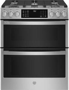"""PGS960YPFS GE Profile 30"""" Smart Slide In Front Control Gas Double Oven Convection Range with No Preheat Air Fry - Fingerprint Resistant Stainless Steel"""