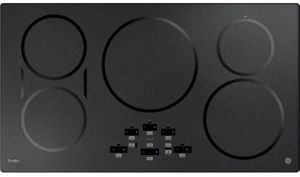 "PHP9036BMTS GE Profile Series 36"" Built-In Touch Control Induction Cooktop with 5 Induction Elements - Black Stainless Steel"