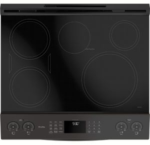 """PHS930BLTS GE 30"""" Profile Series Slide-In Front Control Induction Range with Auto Self Clean and True European Convection Oven - Black Stainless Steel"""