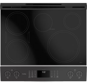 "PHS930SLSS GE 30"" Profile Series Slide-In Front Control Induction Range with Auto Self Clean and True European Convection Oven - Stainless Steel"