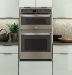 "PK7800EKES GE Profile 27"" Built-in Combination Double Wall Oven/Microwave with Steam Self-clean option and True European Convection - Slate"